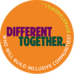 """MSU Inclusion Button that reads """"Different Together: Who Will Build Inclusive Communities? Spartans Will."""