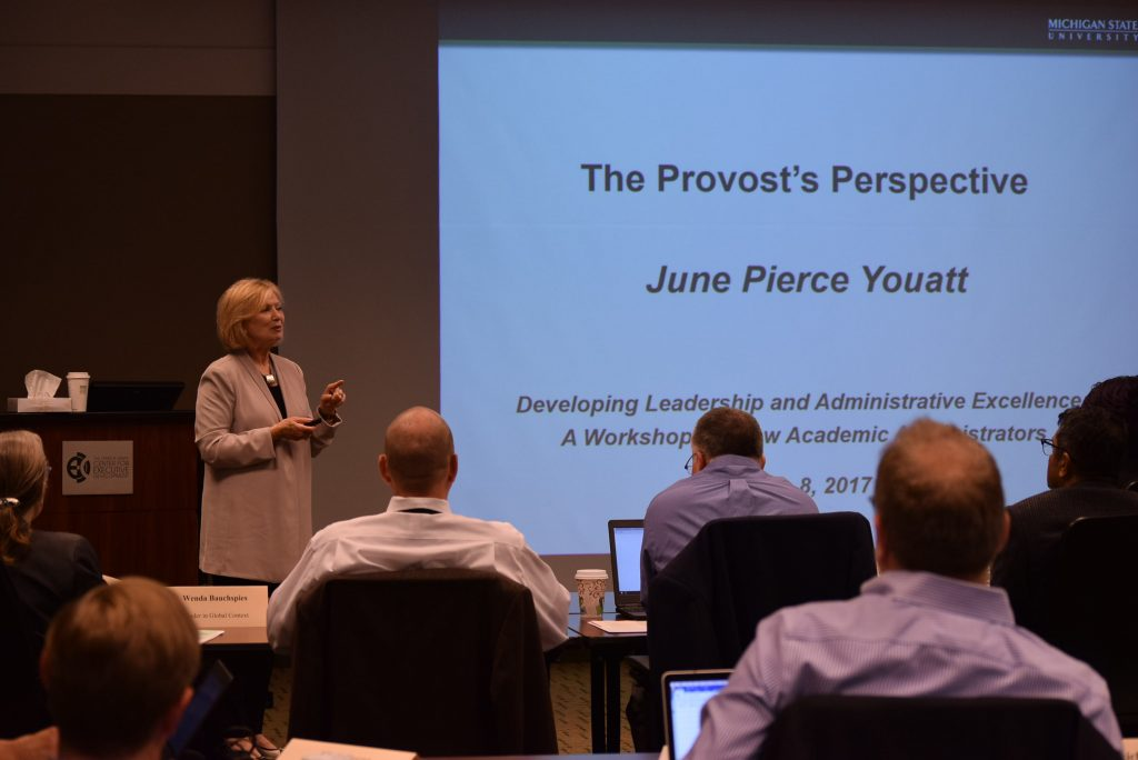 Provost Youatt presenting at 2017 New Administrator Orientation