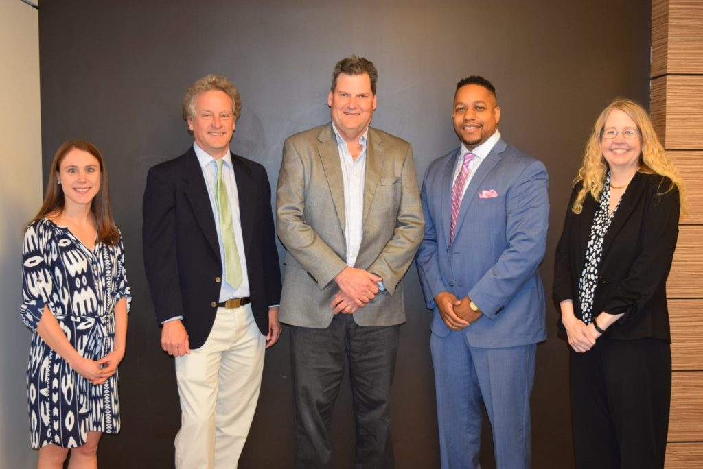 Pictured (left to right) Heidi Schroeder, David Hyndman, Lee Cox, Quentin Tyler and Angela Wilson (missing is Kristi Bowman)